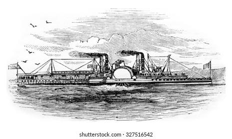 Mississippi Steamboat, vintage engraved illustration.