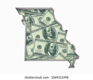 Missouri MO Money Map Cash Economy Dollars 3d Illustration