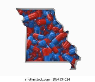 Missouri MO Pills Drugs Health Care Insurance Map 3d Illustration
