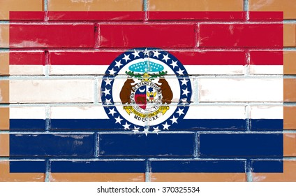 Missouri state flag of America on brick wall