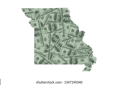 Missouri State Map and Money Concept, Hundred Dollar Bills