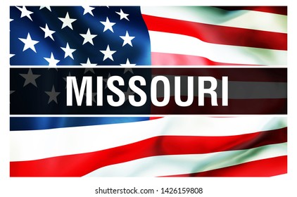 Missouri state on a USA flag background, 3D rendering. United States of America flag waving in the wind. Proud American Flag Waving, US Missouri state concept. US symbol and American Missouri