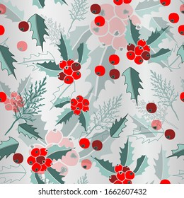 Mist & Mistletoe-Marry Christmas, seamless repeat pattern. Multi layer design of cypress leaves, mistletoe and in red,maroon,green,silver .Perfect for fabric, scrapbook,wallpaper.