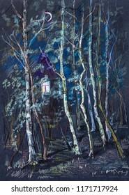 mistery of night, birches near house