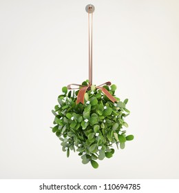mistletoe hanging from the ceiling with grey background