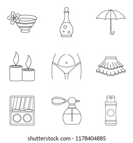 Mistress icons set. Outline set of 9 mistress icons for web isolated on white background