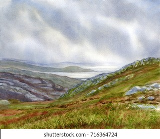 Misty Coast Northwest Scotland, watercolor painting landscape of cloudy day on the coast and islands of Scotland with rocky, mossy shore.