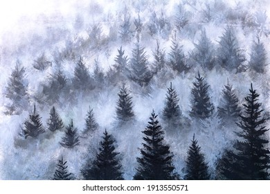 misty dream oil painting pine forest in the valley in the foggy morning Fresh atmosphere artwork illustration