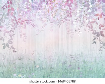 Misty forest in a rainbow haze with hanging branches and meadow flowers. Mural art, Wallpaper and fresco for interior printing.