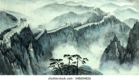 misty landscape with the great Chinese wall
