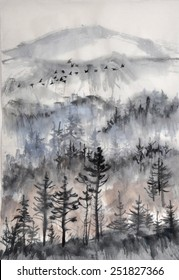 Misty pine forest with and air perspective and a flock of birds. Original watercolor painting on rice paper.
