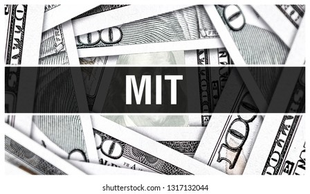 MIT Massachusetts Institute of Technology. American Dollars Cash Money,3D rendering. MIT at Dollar Banknote. Financial USA money banknote and commercial money investment profit concept