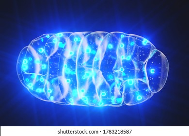 Mitochondrion mitochondria mitochondrium with blue light on dark background with lens effects. 3d render