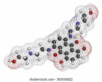 Mitoxantrone cancer drug molecule (type II topoisomerase inhibitor). Atoms are represented as spheres with conventional color coding: hydrogen (white), carbon (grey), nitrogen (blue), oxygen (red).