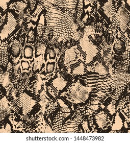 Mix animal skin print repeat seamless pattern design. Leopard, snake, zebra, tiger, crocodile texture background.