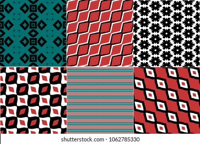 Mix collection of hipster boho seamless patterns. Red and indigo blue wallpaper, diagonal, zigzag, striped, geometric background.