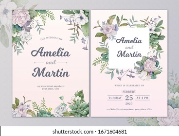 Mix flowers watercolor wedding invitation card with text layout