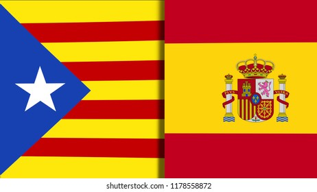 Mix of Two Realistic Waving Flags of The Catalonia And The Spain. The Catalan Independence Referendum