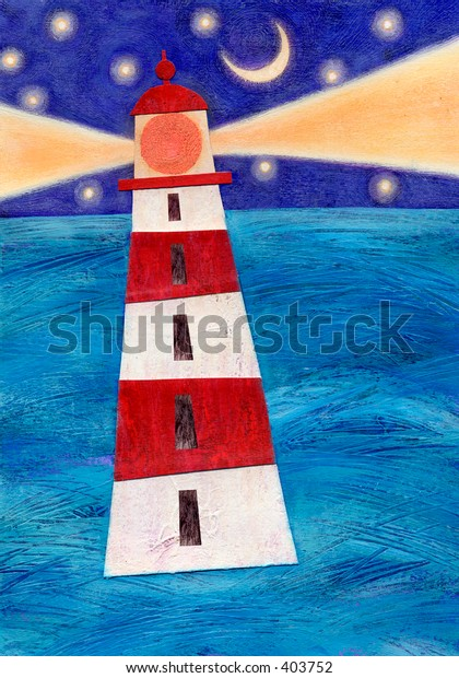 Mixed media collage of a lighthouse; an original artwork by the artist.