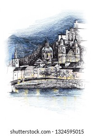 Mixed media sketch of Salzburg Austria