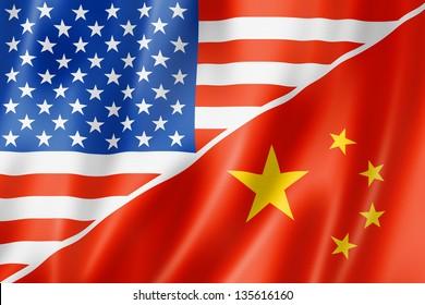Mixed USA and China flag, three dimensional render, illustration