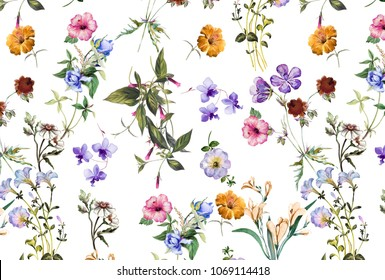 mixed watercolor flowers print