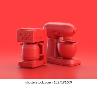 Mixer and coffee maker in red background, monochrome single color red 3d Icon, 3d rendering,kitchen appliances