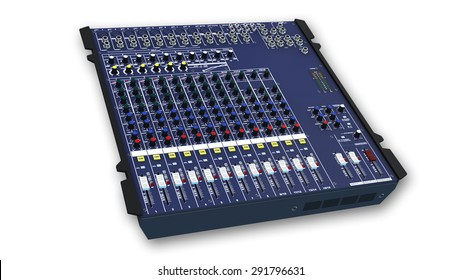 Mixing Board, Sound Mixer, audio equipment isolated on white background