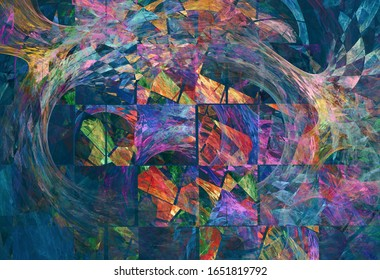 Mixture of square tiles and colorful chaotic shapes