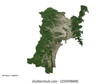 Miyagi, Japan Map (3D illustration)