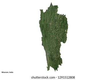 Mizoram, India Map (3D rendering)