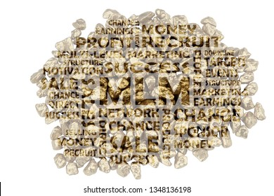 MLM keywords embedded on a close-up of golden split stones