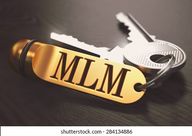 MLM - Multi Level Marketing - Concept. Keys with Golden Keyring on Black Wooden Table. Closeup View, Selective Focus, 3D Render. Toned Image.
