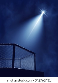 MMA cage and floodlights , Fight night arena