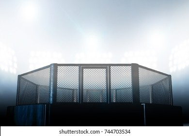 An MMA fight cage arena dressed in black padding lit by arena spot lights - 3D render