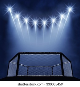 MMA fight cage and spotlights , Mixed martial arts fighting arena