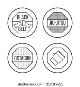MMA Sport icons set. Thin Line Style. illustration