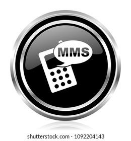 Mms black silver metallic chrome border glossy round web icon