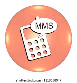 Mms button isolated. 3d illustration