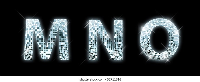 M,N,O - font made from a disco ball