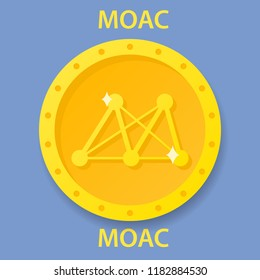 MOAC Coin cryptocurrency blockchain icon. Virtual electronic, internet money or cryptocoin symbol, logo