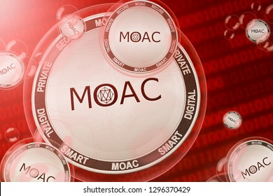 MOAC crash; MOAC coins in a bubbles on the binary code background. Close-up. 3d illustration