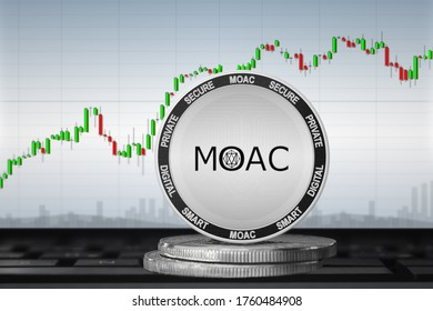 MOAC cryptocurrency; MOAC coin on the background of the chart