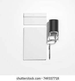 Moackup with black modern self inking name stamp. 3d rendering