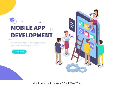 Mobile app development concept banner with characters. Can use for web banner, infographics, hero images. Flat isometric illustration isolated on white background.