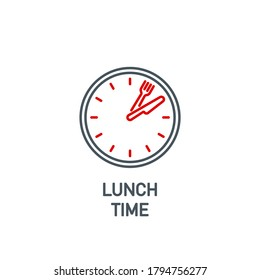 mobile app food time on the clock icon isolated on white. outline app symbol wall clock with cutlery: knife and fork. Quality element lunch break time with editable Stroke. midday on the watch banner