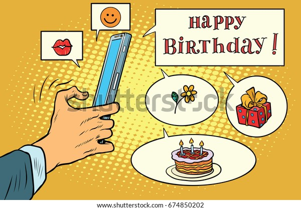Mobile App Greetings Happy Birthday Pop Art Retro Comic Book Illustration Social Networks And