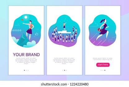Mobile app interface concept design with woman personal brand theme. Victory metaphor for successful business lady. Landing page, UI site template design. Web banner, mobile app illustration.