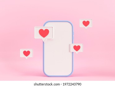 Mobile application for online dating, messenger. 3d render illustration. Application for dating. Love messages, hearts and likes in social networks