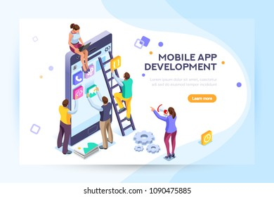 Mobile application, user and developer group. Can use for web banner, infographics, hero images. Flat isometric people, illustration isolated on generic white background.